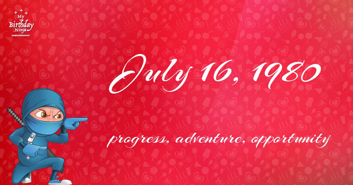 July 16, 1980 Birthday Ninja Poster