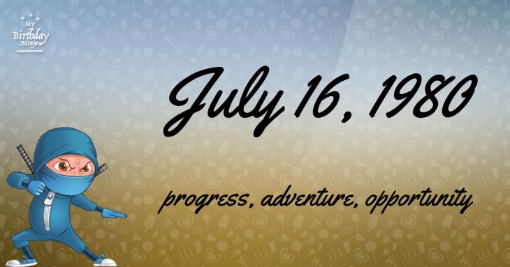 July 16, 1980 Birthday Ninja