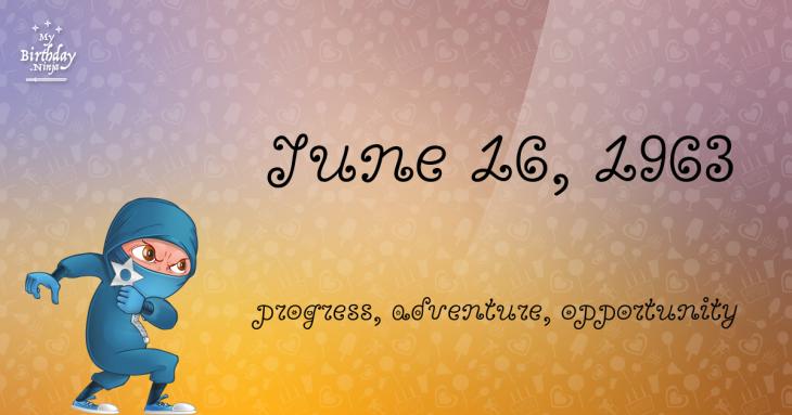 June 16, 1963 Birthday Ninja