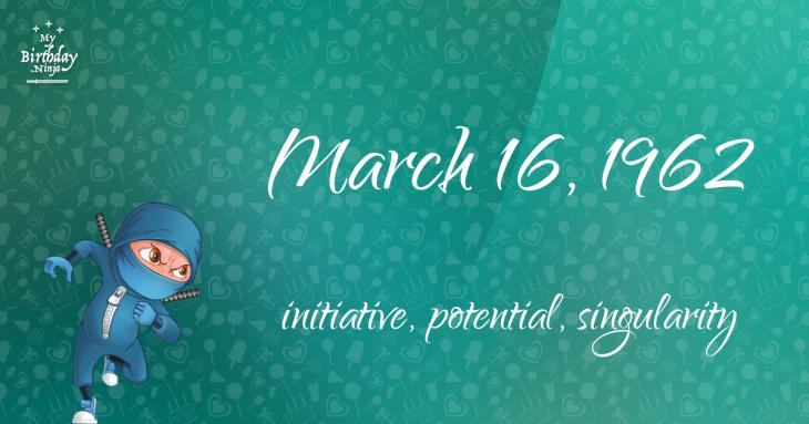 March 16, 1962 Birthday Ninja