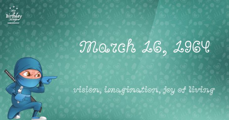 March 16, 1964 Birthday Ninja
