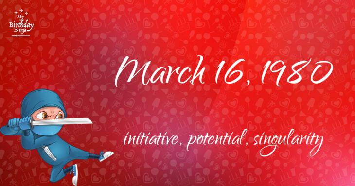 March 16, 1980 Birthday Ninja