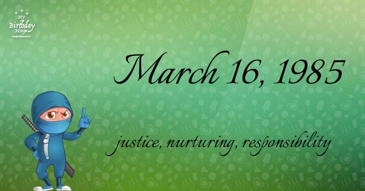 March 16, 1985 Birthday Ninja