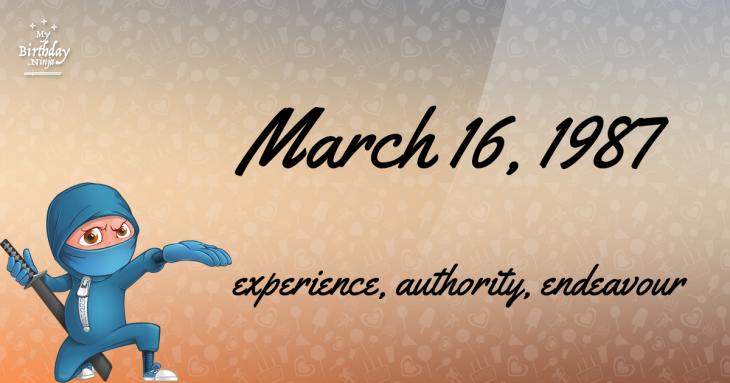 March 16, 1987 Birthday Ninja