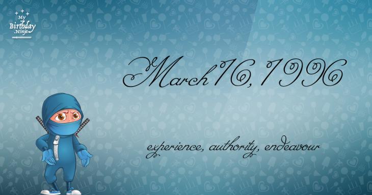 March 16, 1996 Birthday Ninja