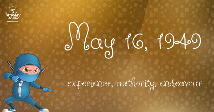 May 16, 1949 Birthday Ninja