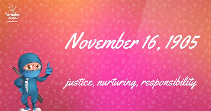 November 16, 1905 Birthday Ninja