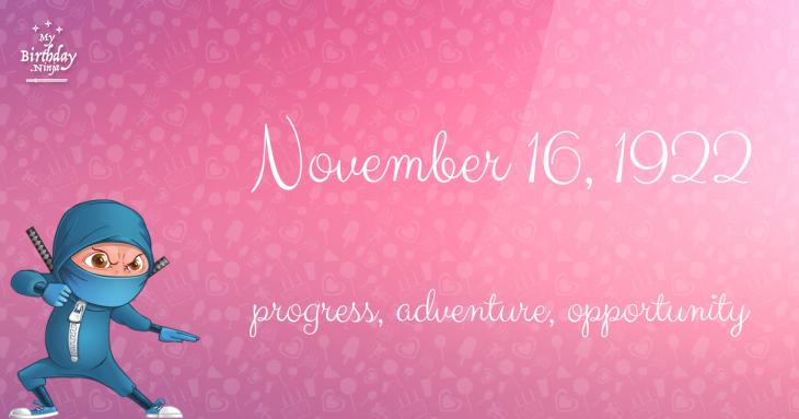 November 16, 1922 Birthday Ninja