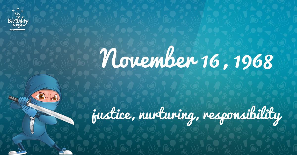 November 16, 1968 Birthday Ninja Poster