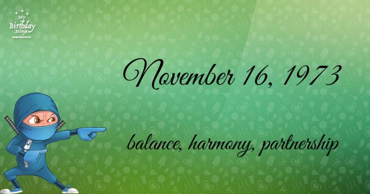 November 16, 1973 Birthday Ninja