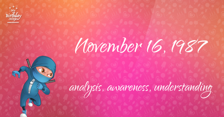 November 16, 1987 Birthday Ninja