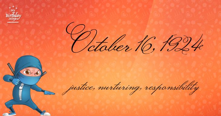 October 16, 1924 Birthday Ninja