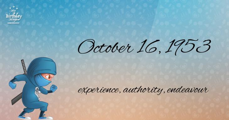 October 16, 1953 Birthday Ninja