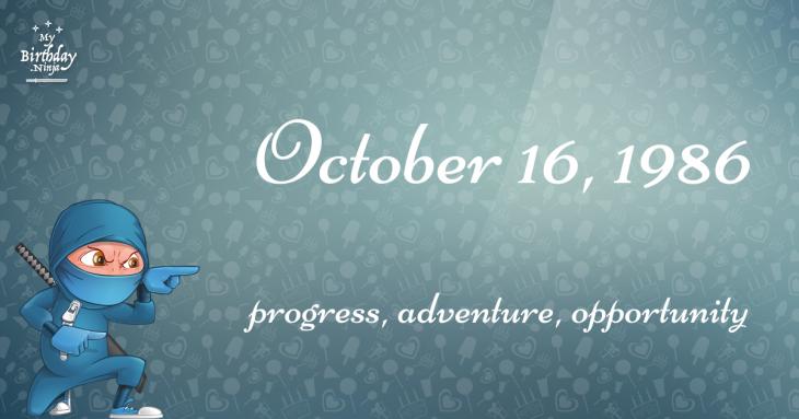 October 16, 1986 Birthday Ninja