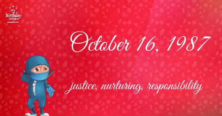 October 16, 1987 Birthday Ninja