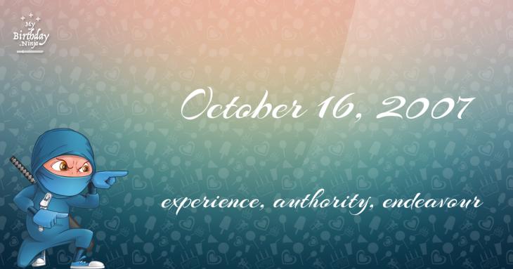 October 16, 2007 Birthday Ninja