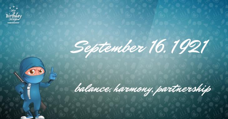 September 16, 1921 Birthday Ninja