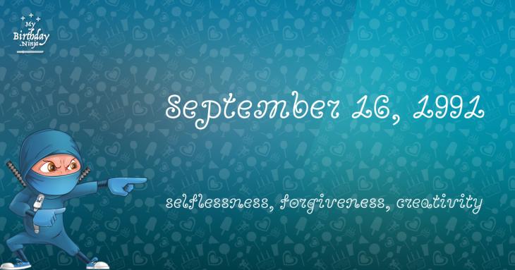 September 16, 1991 Birthday Ninja