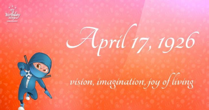 April 17, 1926 Birthday Ninja