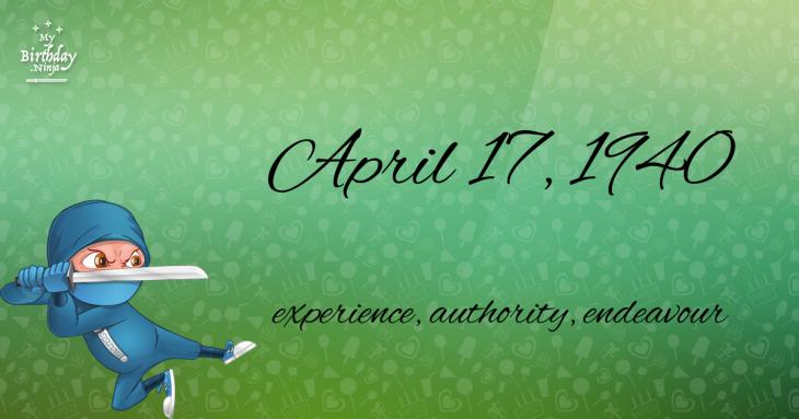 April 17, 1940 Birthday Ninja