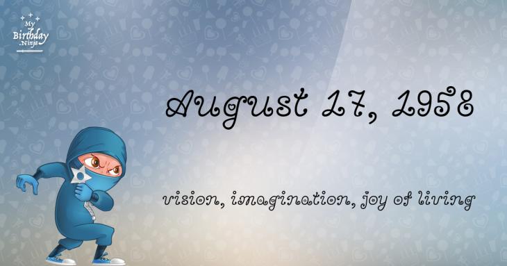 August 17, 1958 Birthday Ninja