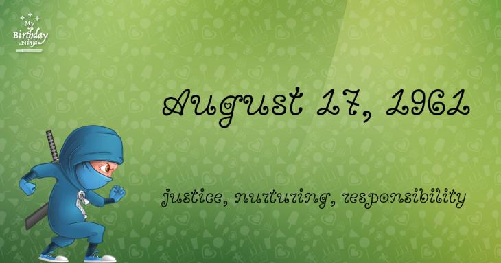 August 17, 1961 Birthday Ninja