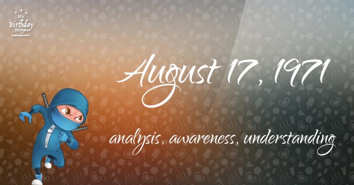 August 17, 1971 Birthday Ninja