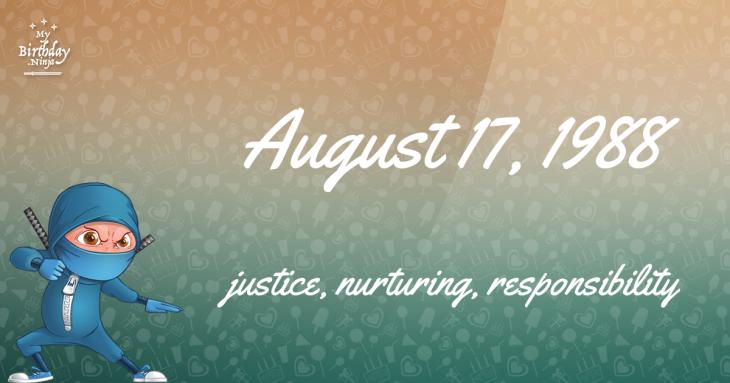 August 17, 1988 Birthday Ninja