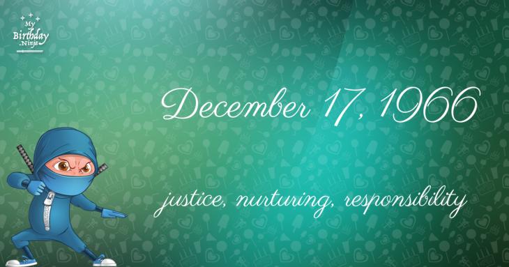 December 17, 1966 Birthday Ninja
