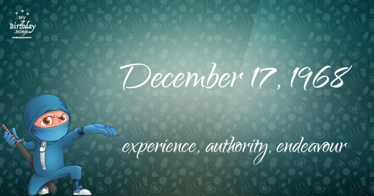 December 17, 1968 Birthday Ninja