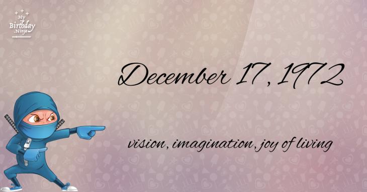 December 17, 1972 Birthday Ninja