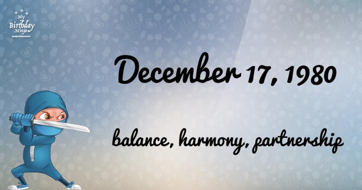 December 17, 1980 Birthday Ninja