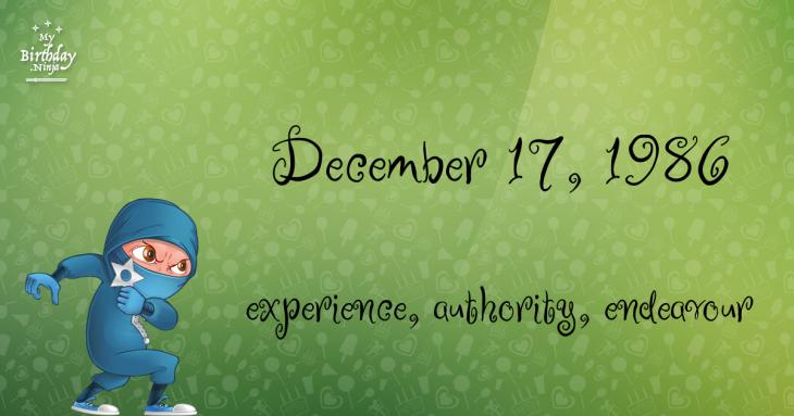 December 17, 1986 Birthday Ninja