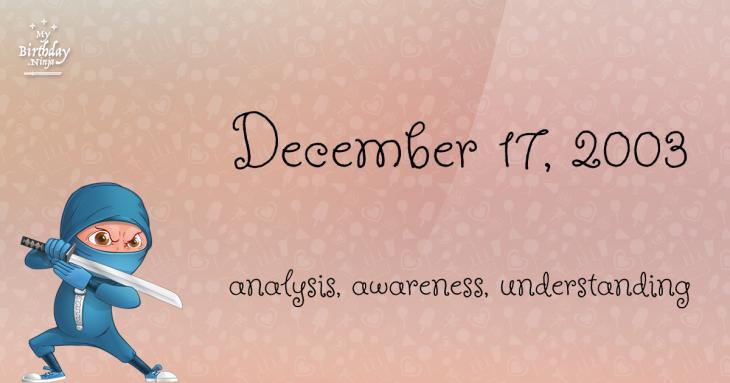December 17, 2003 Birthday Ninja