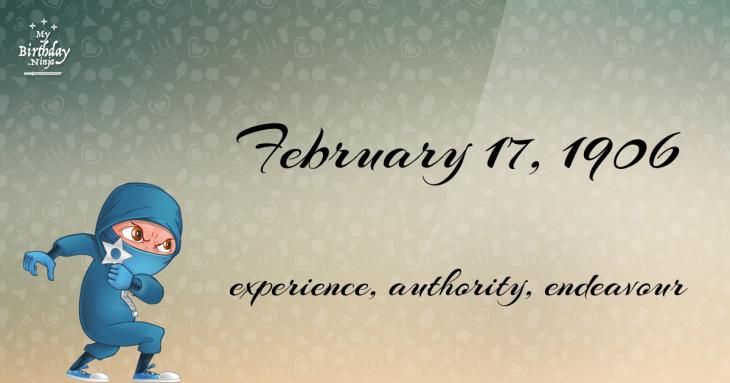 February 17, 1906 Birthday Ninja