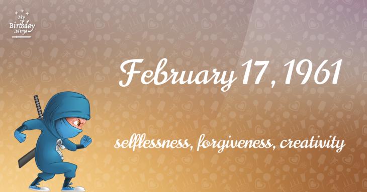 February 17, 1961 Birthday Ninja