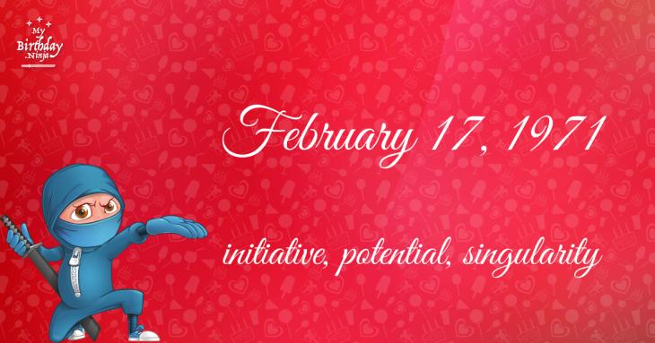 February 17, 1971 Birthday Ninja