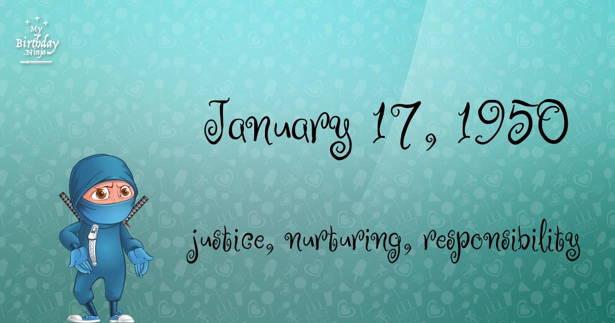 January 17, 1950 Birthday Ninja Poster