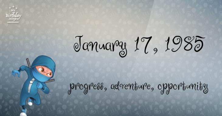 January 17, 1985 Birthday Ninja