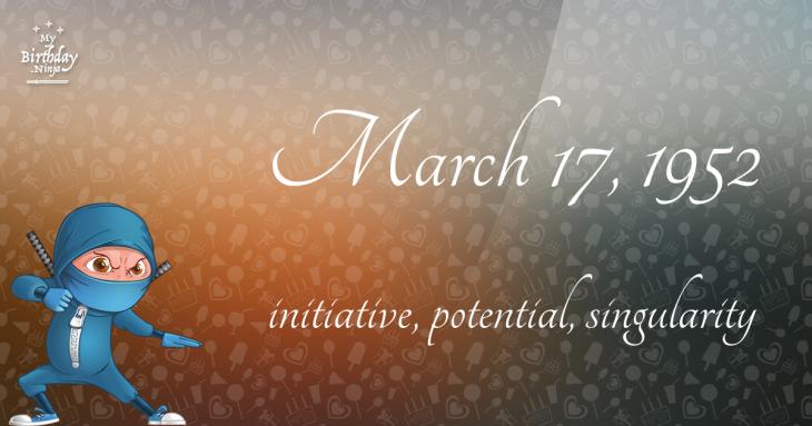 March 17, 1952 Birthday Ninja