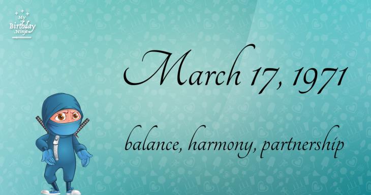 March 17, 1971 Birthday Ninja