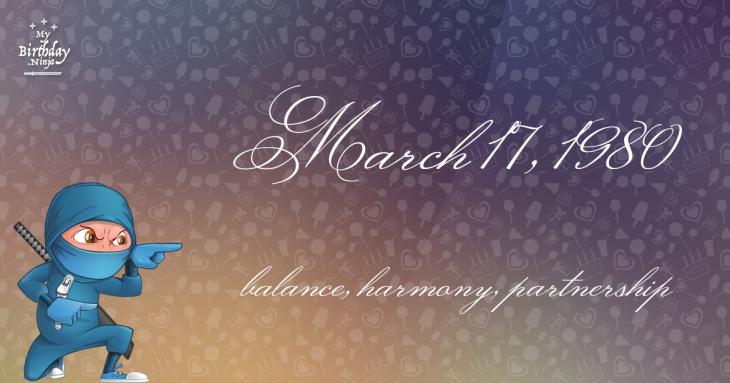 March 17, 1980 Birthday Ninja