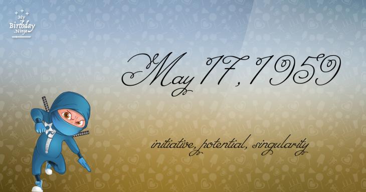 May 17, 1959 Birthday Ninja