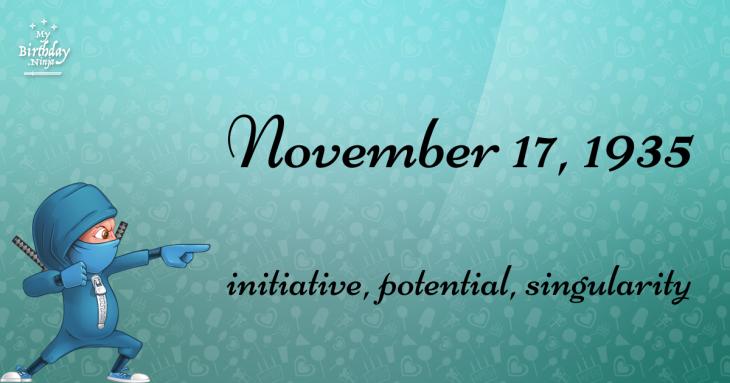 November 17, 1935 Birthday Ninja