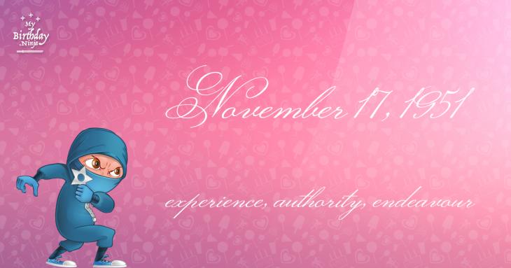 November 17, 1951 Birthday Ninja
