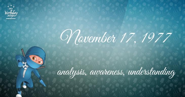 November 17, 1977 Birthday Ninja