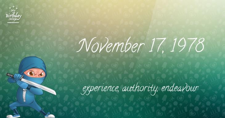 November 17, 1978 Birthday Ninja