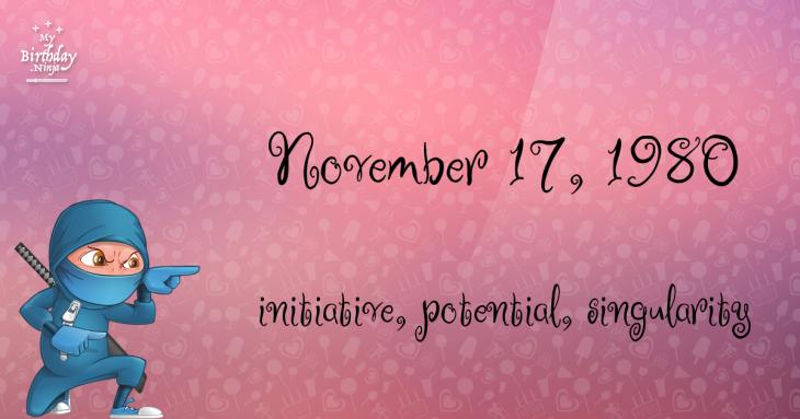November 17, 1980 Birthday Ninja