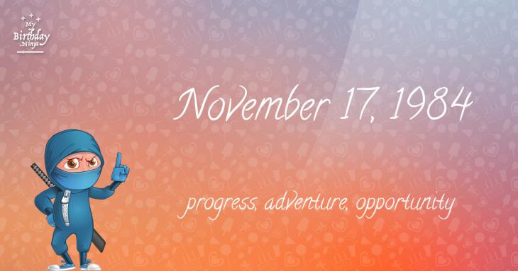 November 17, 1984 Birthday Ninja