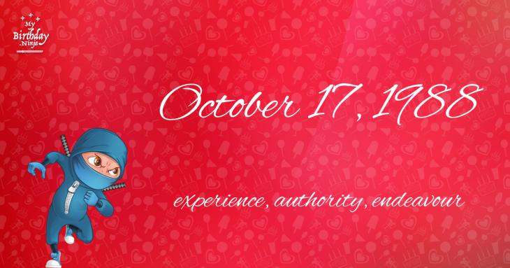 October 17, 1988 Birthday Ninja